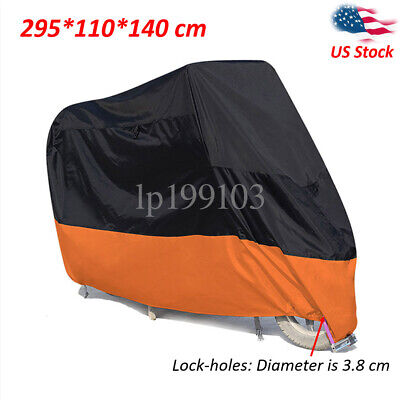 XXXXL Black Orange Waterproof Motorcycle Cover Lock hole For Cruiser Chopper