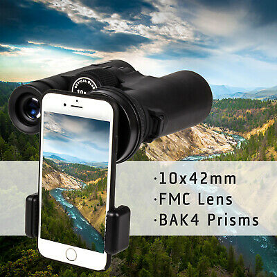 10x42 HD Binoculars Telescope BAK4 Prism FMC Lens for Hunting Hiking Camping