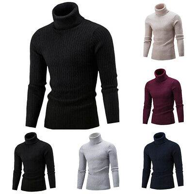 Men's High Neck Knitted Sweaters Loose Warm Pullover Tops Casual Outwear Solid