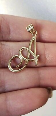 real 10k yellow gold script initial A pendant charm 1.25 inch long