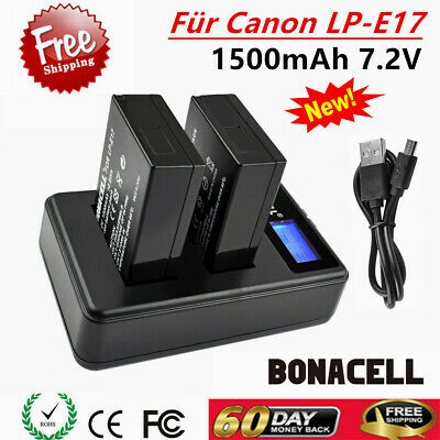 2x Battery + LCD DUAL charger LP-E17 FOR CANON EOS Rebel T6i T7i 750D 800D M3 UB