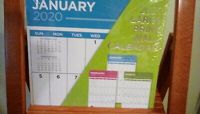 2020 - Large Print 12 Month Wall Calendar 12 X 11 Sealed And New!
