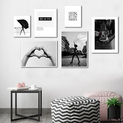 Black White Fashion Poster Holding Hand Beauty Quotes Canvas Print Wall Decor