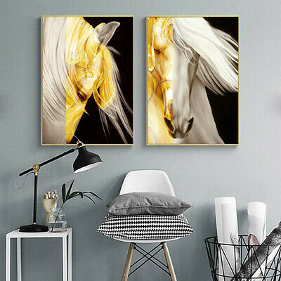 Golden Horse Abstract Canvas Poster Nordic Wall Art Contemporary Print Picture