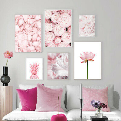 Pink Rose Flower Pineapple Wall Poster Nordic Canvas Modern Art Botanical Print