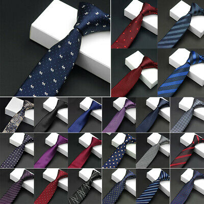 Men's Necktie Jacquard Woven Tie Silk Narrow Wedding Party Skinny Slim Gift
