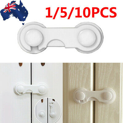 5/10xChild Adhesive Kid Baby Safety Drawer Door Lock Cupboard Cabinet Belt White