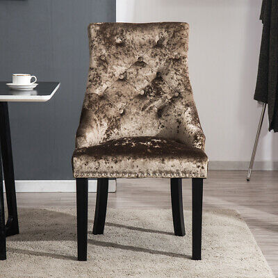 2/4x Coffee Crushed Velvet Dining Chairs with Ring Knocker High Back Padded Seat