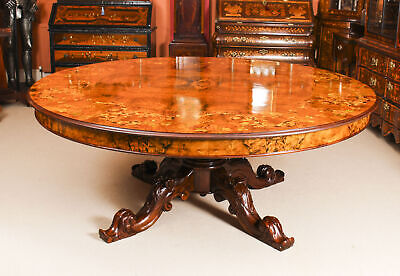 Vintage 6ft 6 inch Diameter Marquetry Dining Table 20th C