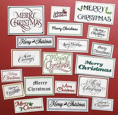 MIXED CHRISTMAS SENTIMENTS COLOUR BORDERS X 19 assorted shapes and sizes