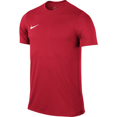 Nike Park V1 Mens Dri Fit Blue Red T Shirt Gym Sports Football Fitness Logo Tee