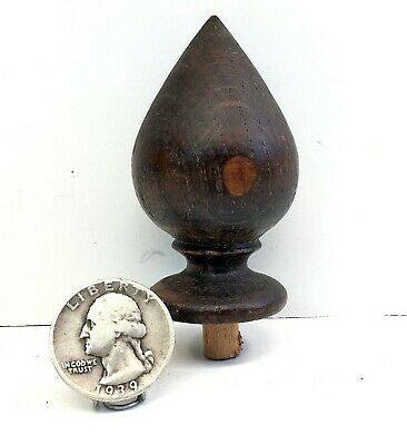 "Antique FINIAL 2.5"" Oak Clock/Furniture reclaimed/salvage/repurpose f/s"