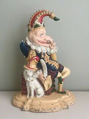 Vintage Mr Punch Cast Iron Doorstop Punch & Judy Distressed Aged Antique 3kg