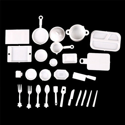 25pcs 1:12Dollhouse Miniature Dish DIYTableware Mini Kitchen Mini Food Plates<e