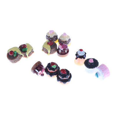 5pcs Dessert 3D Resin Vanilla Chocolates Cakes Miniature food Dollhouse Decor<e