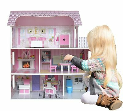 Kiddi Style Wooden Large Victorian Wooden Doll House with Furniture