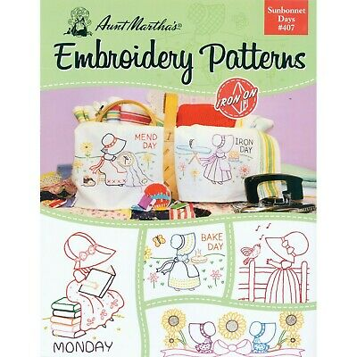 Aunt Martha's 407 Sunbonnet Days Embroidery Transfer Pattern Book Kit