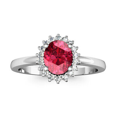 White Topaz Pave Setting 925 Solid Silver Red Rhodolite Halo Engagement Ring