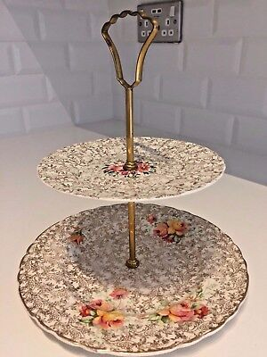 VINTAGE Mismatched 2 Tier CAKE STAND 1940s 1950s GOLD CHINTZ Royal Staffordshire