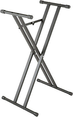 Keyboard Stand Double Braced X-Style Adjustable Height Portable Black Metal