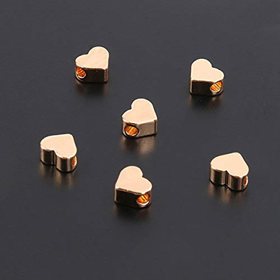 30PCS Silver/Gold Heart European Small Hole Spacer Beads Fits DIY Handmade Rose
