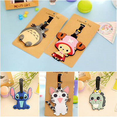 2pcs Cartoon Silicone Travel Luggage Tag Baggage Suitcase Bag Label Name Address