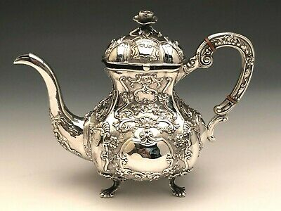 """Beautiful Antique Sterling Silver Teapot, Ornate Pattern 7.5"""" tall"""