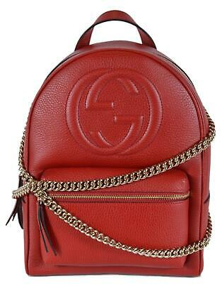 NEW GUCCI WOMEN\u0027S 536192 Red Leather SOHO Chain Strap Small