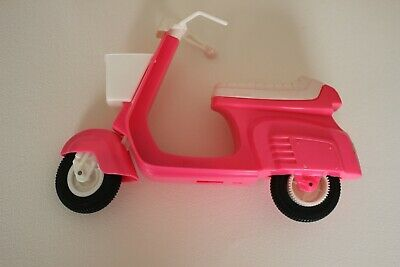 Barbie Scooter Pink Moped Motor Bike Motorcycle with Front Basket Vintage 1980's