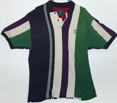 90s Ralph Lauren Chaps Color Block Wide Striped Polo Short Sleeve Shirt L