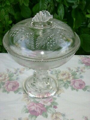 """Antique Victorian 1880s EAPG Barberry Covered Compote McKee & Bros Glass 10"""""""