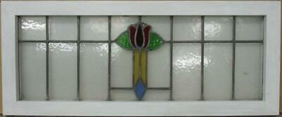 "OLD ENGLISH LEADED STAINED GLASS WINDOW TRANSOM Colorful Floral Design 34"" x 14"""