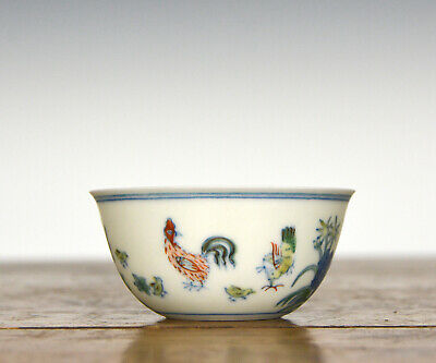 Superb Finely Painted Chinese Ming Style Chenghua MK Doucai Chicken Wine Cup