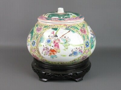 Vintage Jar Chinese Shape Domed Porcelain with Base Wood Period Xx Century