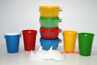 NEW Tupperware Bell Tumblers Ideal Bowls Sippy Lids Primary Colors