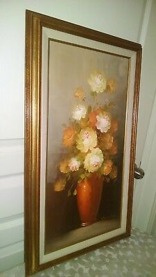 """Robert Cox signed Oil Painting on Canvas 17"""" x 29"""" Floral Still Life Original"""