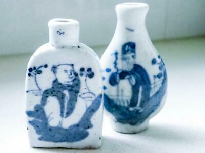Antique 2 Chinese Qing Dynasty Blue & White Snuff Bottles - C.1644 -1912