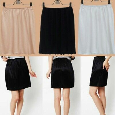Women Mini Skirt Safety Skirt Underskirt Under Dress Satin Half Slip Petticoat