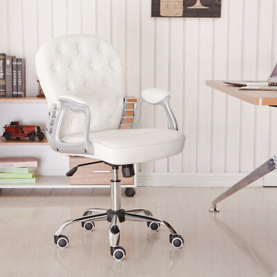 White Leather Office Chair Executive Computer Desk Swivel Dressing Table Chair