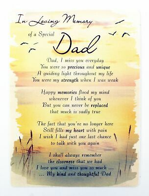 In Loving Memory Of Dad Grave Card Keepsake Poem Memorial Bereavement Graveside