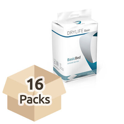 16x Absorbent Disposable Drylife Bed Pads - 60cm x 90cm - Pack of 25 - 1400ml