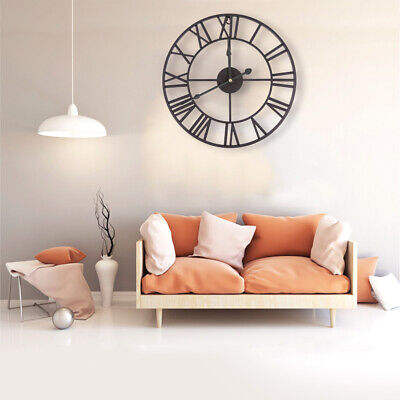 40CM Large Garden Wall Clock Roman Numerals Giant Open Face Metal Round Room