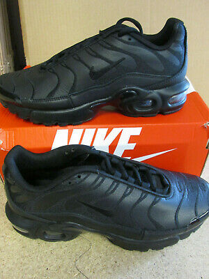 NIKE AIR MAX Tn Black Leather Plus Tuned Junior Ao5432 001 Uk Sizes 4 5 6