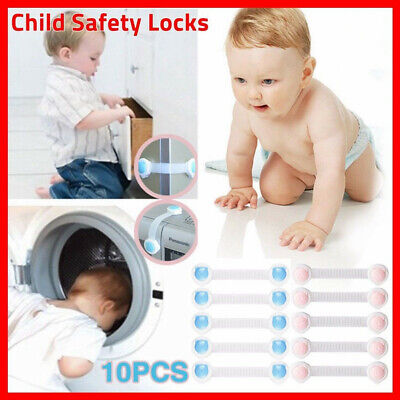 10x Child Kids Baby Safety Lock For Door Drawers Cupboard Cabinet Adhesive Locks