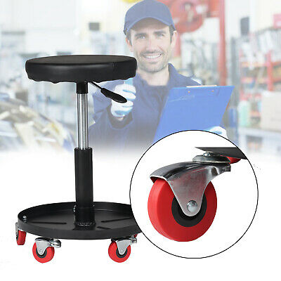 Creeper Stool Seat Pneumatic Mechanic Round Car Bike Garage Workshop Black uk.