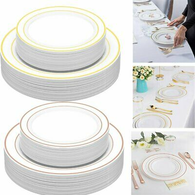 60PCS Disposable Hard Plastic Plates for Dinner Wedding Party Event BBQ Buffet