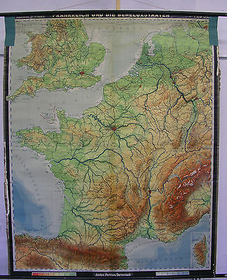 Schulwandkarte Beautiful Old Frankreichkarte La France 155x191c ~ 1961 Vintage