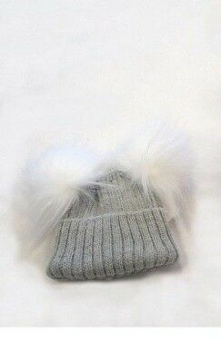 Kinder Winkie Hat Spanish Style Two Faux Fur Pom Pom Knitted Hat