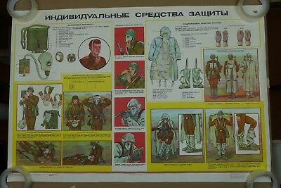 Authentic Soviet Russian Military Poster Civil Defense Chemical Suit AKM GP-5