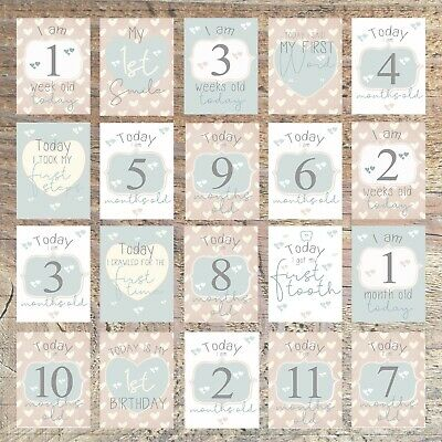 Baby Milestone Cards-1st Year Memorable Moments,Baby Gift, Boy or Girl, PK of 20